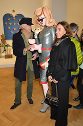 Left to right, SIR BOB GELDOF, JEANNE MARINE  and PANDEMONIA at the opening private view of 'A Strong Sweet Smell of Incense - A portrait of Robert Fraser, held at the Pace Gallery, Burlington Gardens, London on 5th February 2015.