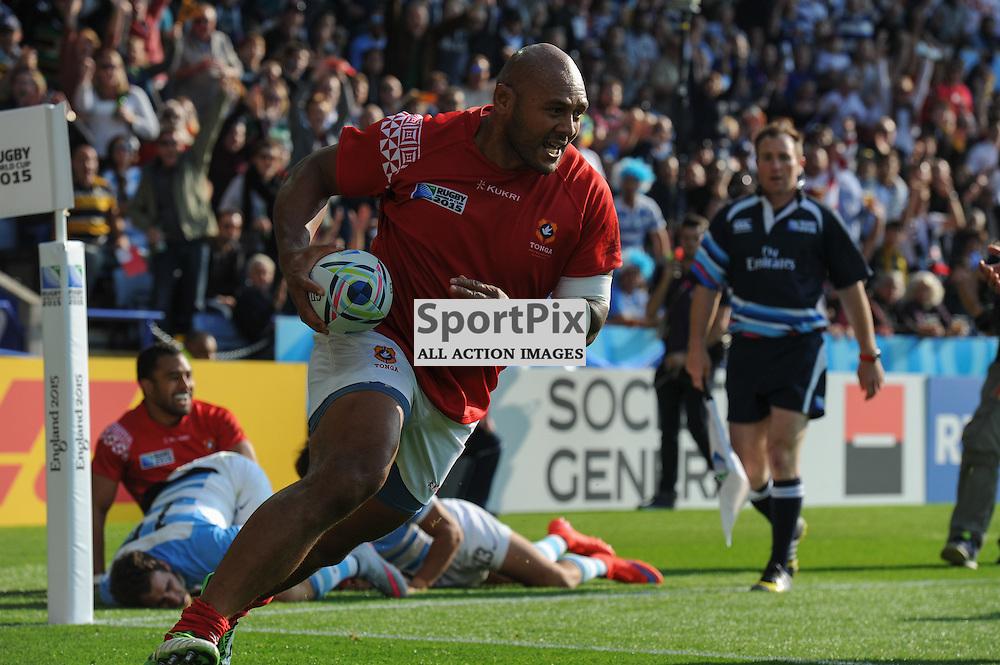 Soane Tonga'uiha goes over for Tonga's second try of the match just before half time (c) Simon Kimber   SportPix.org.uk