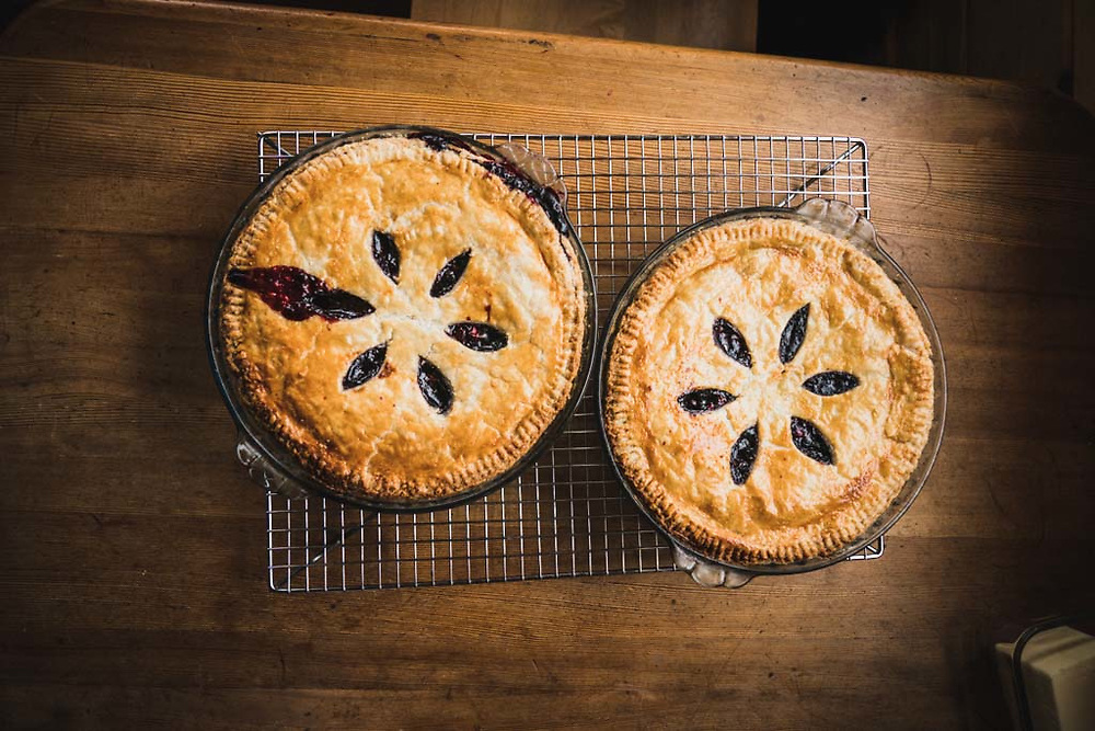 Monika Loeschberger's blackberry pies, made from scratch and baked to perfection in the Pioneer Made Wood Oven, Burnie Glacier Chalet, Howson Range, BC.