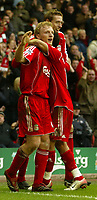 Photo: Aidan Ellis.<br /> Liverpool v Bolton Wanderers. The Barclays Premiership. 01/01/2007.<br /> Liverpool's Dirk Kuyt celebrates his goal and Teams third