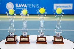 Trophies after Doubles Final during Tennis tournament  ATP Challenger Zavarovalnica Sava Slovenia Open 2017, on August 11, 2017 in Sports centre, Portoroz/Portorose, Slovenia. Photo by Vid Ponikvar / Sportida