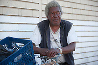 Portrait of African American homeless man