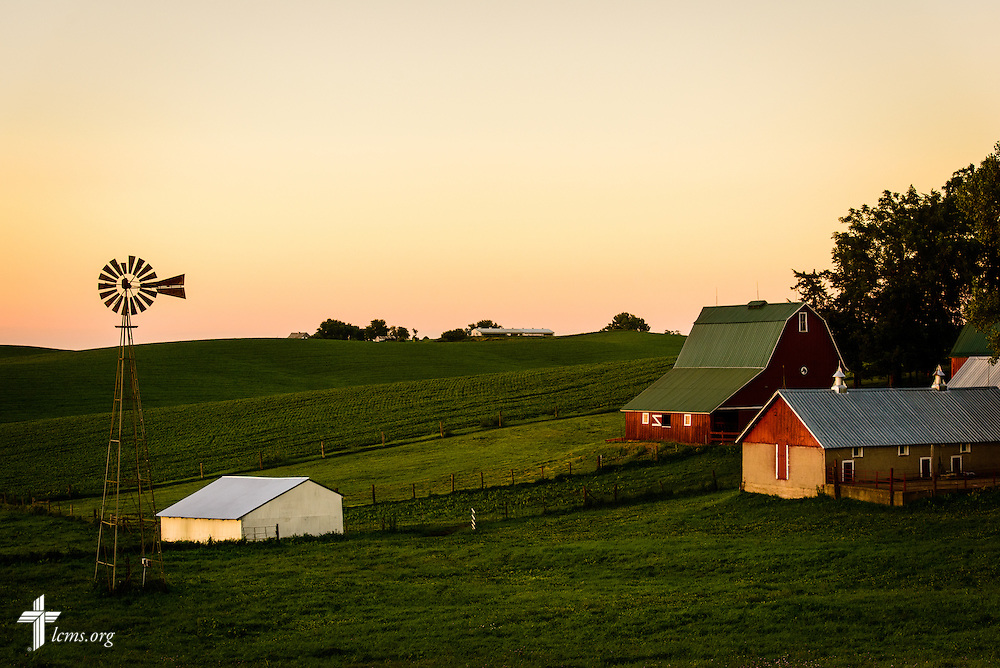 The sun sets over a farm near Mission Central on Saturday, July 18, 2015, in Mapleton, Iowa. LCMS Communications/Erik M. Lunsford