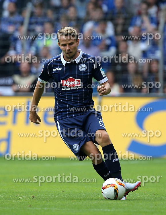 12.09.2015, Schueco Arena, Bielefeld, GER, 2. FBL, DSC Arminia Bielefeld vs 1. FC Heidenheim, 6. Runde, im Bild Sebastian Schuppan (Bielefeld) mit Ball // during the 2nd German Bundesliga 6th round match between DSC Arminia Bielefeld and 1. FC Heidenheim at the Schueco Arena in Bielefeld, Germany on 2015/09/12. EXPA Pictures &copy; 2015, PhotoCredit: EXPA/ Eibner-Pressefoto/ Hommes<br /> <br /> *****ATTENTION - OUT of GER*****