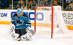 April 22, 2010; San Jose, CA, USA; San Jose Sharks goaltender Evgeni Nabokov (20) makes a save against the Colorado Avalanche during the third period of game five in the first round of the 2010 Stanley Cup Playoffs at HP Pavilion.  San Jose defeated Colorado 5-0. Mandatory Credit: Jason O. Watson / US PRESSWIRE