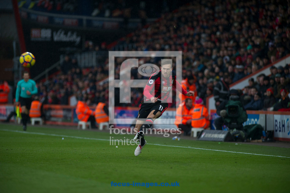 Charlie Daniels of Bournemouth makes a cross during the Premier League match at the Vitality Stadium, Bournemouth<br /> Picture by Daniel Murphy/Focus Images Ltd 07415921094<br /> 17/03/2018