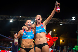 Winners Dalida Vernier with Kelly Claes at Beach Volleyball Challenge Ljubljana 2014, on August 2, 2014 in Kongresni trg, Ljubljana, Slovenia. Photo by Matic Klansek Velej / Sportida.com
