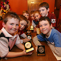 Rhys Reynolds,Robert Cahill,Jamie Mulcahy ,Dylan Birchall,Dale O'Loughlin ,Jordan Downes and Ronan Dooley with their awards at the Shannon Town Schoolboys Soccer Awards at the Oakwood Arms on Sunday evening.<br /><br />Photograph by Eamon Ward
