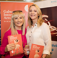 REPRO FREE:  Pam Finn and Anita Mc Glynn Knocknacarra  in Hotel Meyrick for the announcement of the programme for the 2018 Galway International Arts Festival Programme 16-29 July which features an exciting Irish and international programme of theatre, opera, dance, circus, music, spectacle, visual art, and First Thought Talks featuring interviews and discussions on the theme of home, six world premieres, five Irish premieres and artists and theatre makers from across the world. Highlights include world premieres of Paul Muldoon's Incantata, new plays by Sonya Kelly and Cristin Kehoe (Druid) and a new theatre installation from Enda Walsh, visual arts / installations commissions from David Mach Rock 'n' Roll and Olivier Grossetête The People Build. Photo:Andrew Downes, xposure.