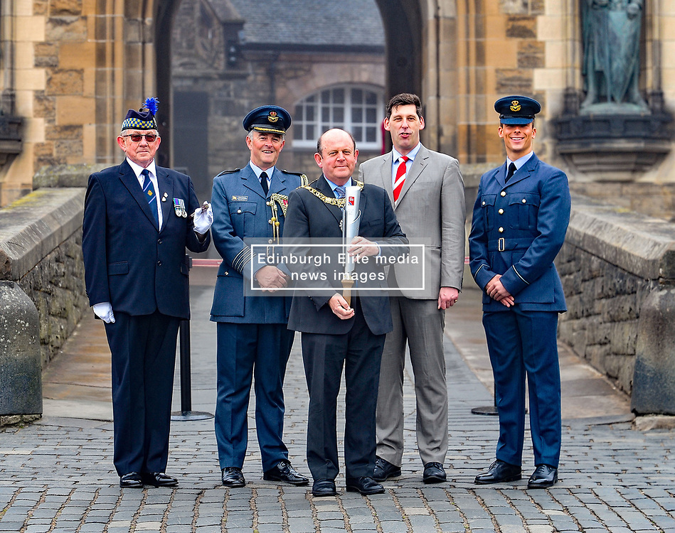 Pictured: Lord Provost Frank Ross (centre) with (left to right) Graham Walter from Legion Scotland, Group Captain Clive Coonbes from Air Officer Command Scotland, Lord Duncan of Soringbank the Under Secretary of State for Scotland and Scott Bashaw from Air Officer Command Scotland.<br /> <br /> As part of the FAF 100 celebrations the relay team carrying a baton round the country arrived in Edinburgh, where they paraded up the Royal Mile and were met at Edinburgh Castle by the Lord Provost Frank Ross.<br /> <br /> © Dave Johnston / EEm