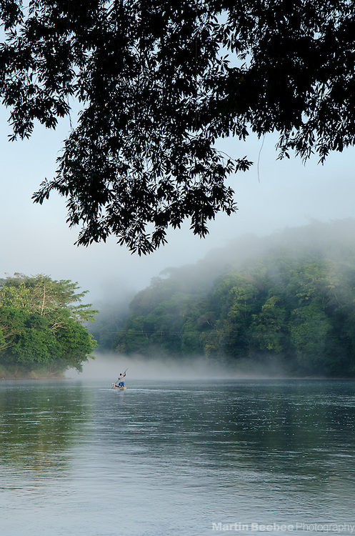 Crossing the Rio San Carlos in a canoe, Boca Tapada, Costa Rica