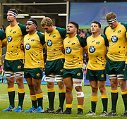Some of the Australian side before the World Rugby U20 Championship  match England U20 -V- Australia U20 at The AJ Bell Stadium, Salford, Greater Manchester, England on June  15  2016, (Steve Flynn/Image of Sport)