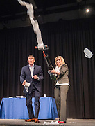 Steve Spangler conducts a demonstration with Andrea Sagraves during the R.T. Garcia Early Childhood Winter Conference, January 26, 2019.