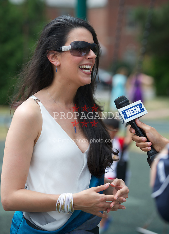 BOSTON, MA - Wednesday, July 18, 2012: Linda Pizzuti, wife of Liverpool FC owner John W. Henry, interviewed by the network owned by her husband, NESN, during a community event at the Perkins School for the Blind during the club's North American pre-season tour. (Pic by David Rawcliffe/Propaganda)