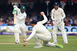 Pakistan's Haris Sohail hits the ball past England's Jos Buttler during day four of the First NatWest Test Series match at Lord's, London.
