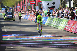 Joseph Lloyd Dombrowski (USA) Cannondale crosses the finish line of Stage 1 of the 2016 Giro d'Italia, an individual time trial of 9.8km around Apeldoorn, The Nethrerlands. 6th May 2016.<br /> Picture: Eoin Clarke | Newsfile<br /> <br /> <br /> All photos usage must carry mandatory copyright credit (© Newsfile | Eoin Clarke)