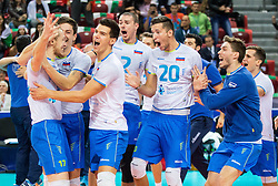Tine Urnaut #17 of Slovenia, Dejan Vincic #9 of Slovenia, Alen Sket #5, Alen Pajenk #2 of Slovenia, Uros Pavlovic #20 of Slovenia, Jan Klobucar #12 of Slovenia celebrate after winning during volleyball match between National teams of Slovenia and Italy in 1st Semifinal of 2015 CEV Volleyball European Championship - Men, on October 17, 2015 in Arena Armeec, Sofia, Bulgaria. Photo by Vid Ponikvar / Sportida