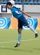 Male's football match 5-a-side between SO Spain and SO Malaysia during 2011 Special Olympics World Summer Games Athens on June 26, 2011..The idea of Special Olympics is that, with appropriate motivation and guidance, each person with intellectual disabilities can train, enjoy and benefit from participation in individual and team competitions...Greece, Athens, June 26, 2011...Picture also available in RAW (NEF) or TIFF format on special request...For editorial use only. Any commercial or promotional use requires permission...Mandatory credit: Photo by © Adam Nurkiewicz / Mediasport