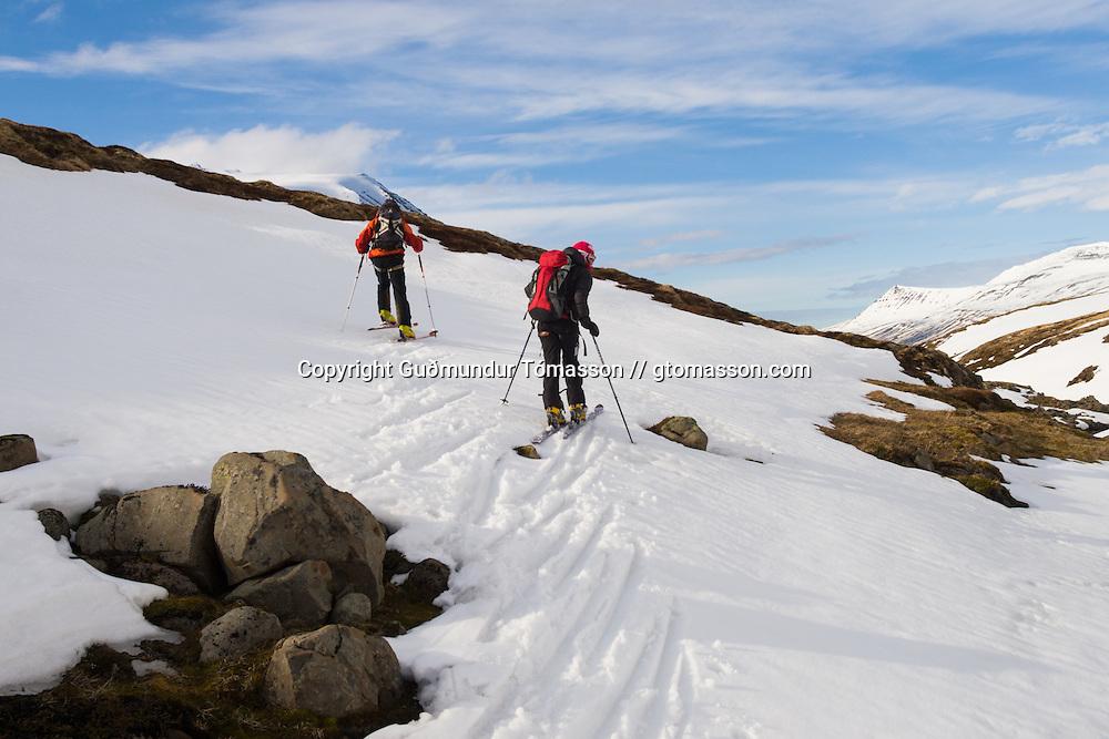April 26. 2007. Ski touring with Bergmenn Mountain Guides to the glacier Gljúfurárjökull, Iceland.