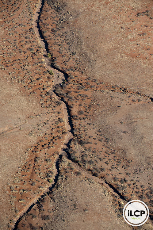 Aerial view of dried up stream bed.