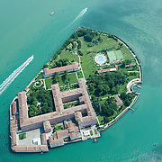 VENICE, ITALY - JULY 07:   A general view of the Island of San Clemente seen during the tour above Venice on July 7, 2011 in Venice, Italy. Seawings has started a new tour of Venice by seaplane, offering aerial views of the Venetian Lagoon and its historic islands, continuing a long history of seaplanes in Venice.