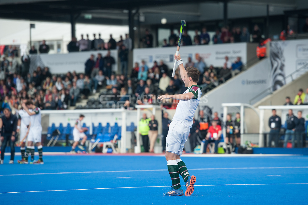 Surbiton's Alan Forsyth celebrates scoring in the shoot out. Wimbledon v Surbiton - Men's Hockey League Final, Lee Valley Hockey & Tennis Centre, London, UK on 23 April 2017. Photo: Simon Parker