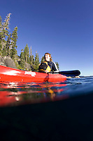 Kayaking near DL Bliss State Park on Lake Tahoe, CA.