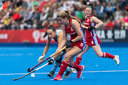 Sarah Evans of Great Britain Women is tackled by Eugenia Trinchinetti Argentina Women during the 2019 Women's FIH Pro League match at Lee Valley Hockey Centre, Stratford<br /> Picture by Simon Parker/Focus Images Ltd <br /> 18/05/2019