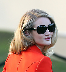 Rosie Huntington-Whiteley arriving at the Burberry Prorsum show during London Fashion Week Fall/Winter 2013/14 in London, UK. 18/02/2013<br /> BYLINE MUST READ : GOTCHAIMAGES.COM<br /> <br /> Copyright by © Gotcha Images Ltd. All rights reserved.<br /> Usage of this image is conditional upon the acceptance <br /> of Gotcha Images Ltd, terms and conditions available at<br /> www.gotchaimages.com