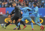 DC United defensemen Frederick Brilliant (13) controls the ball against New York City Football Club forward Jonathan Lewis (17) during the second half of an MLS soccer game at Yankee Stadium in New York, NY, Sunday, March 10, 2019. (Bennett Cohen/image of Sport)