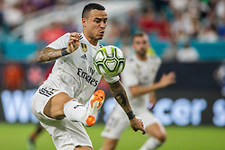 July 31, 2018 - Miami Gardens, FL, USA - Real Madrid forward Raul De Tomas (26) controls the ball inside the Manchester United box during the second half during International Champions Cup action at Hard Rock Stadium in Miami Gardens, Fla., on Tuesday, July 31, 2018. Manchester United won, 2-1. (Credit Image: © Sam Navarro/TNS via ZUMA Wire)