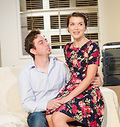 My Girl 2<br /> by Barrie Keeffe<br /> at The Old Red Lion Pub, London, Great Britain <br /> press photocall<br /> 25th June 2014 <br /> <br /> Alexander Neal as Sam<br /> Emily Plumtree as Anita <br /> <br /> directed by Paul Tomlinson <br /> designed by Jacqueline Gunn<br /> Lighting by Yana Demo