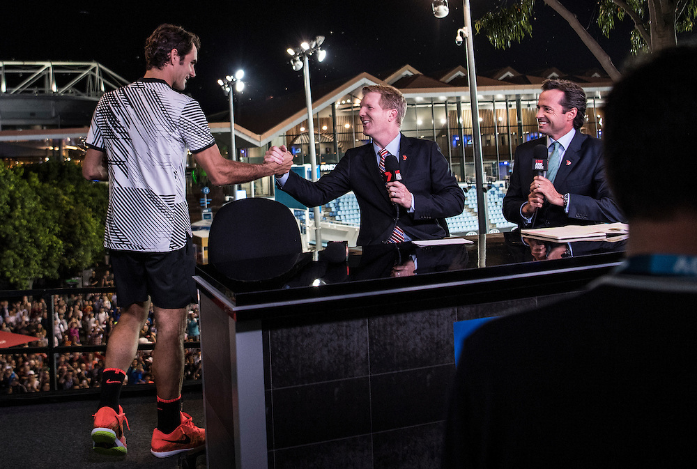 Roger Federer of Switzerland during tv interview after the men's final on day fourteen of the 2017 Australian Open at Melbourne Park on January 29, 2017 in Melbourne, Australia.<br /> (Ben Solomon/Tennis Australia)