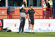 8th September 2019; Dens Park, Dundee, Scotland; Tunnocks Caramel Wafer Cup, Dundee Football Club versus Elgin City; Elgin City manager Gavin Price and assistant Keith Gibson