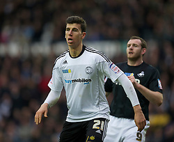 DERBY, ENGLAND - Saturday, March 12, 2011: Derby County's Daniel Ayala in action against Swansea City during the Football League Championship match at Pride Park. (Photo by David Rawcliffe/Propaganda)