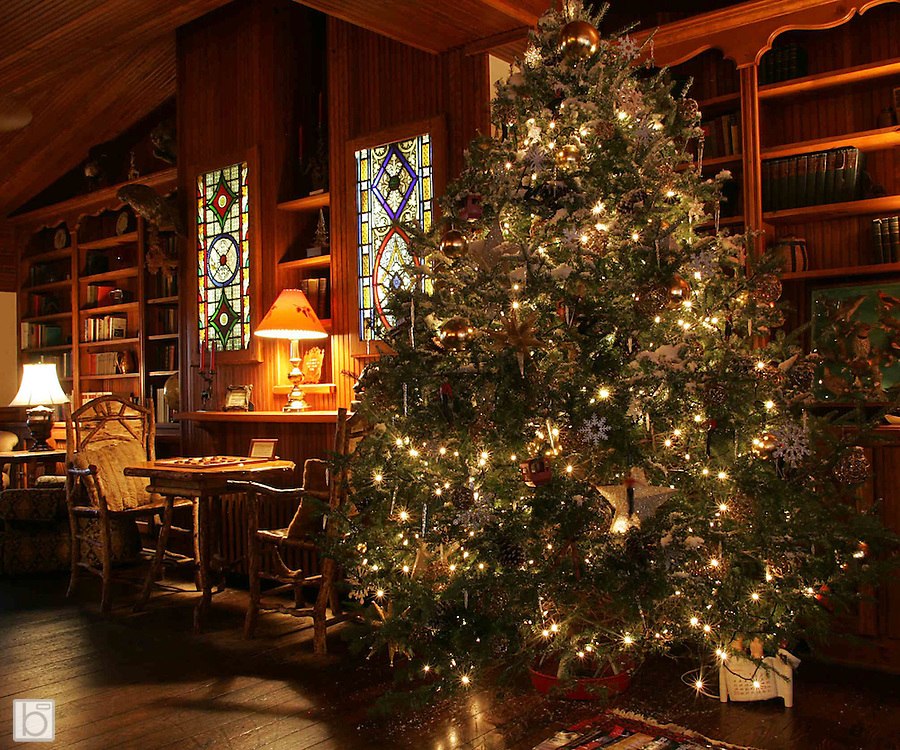 CHristmas Trees and Decorations at the Mirror Lake Inn in Lake Placid, N.Y.