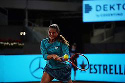 May 8, 2019 - Madrid, Spain - Viktoria Kuzmova (SVK) in her match against Simona Halep (BEL) during day four of the Mutua Madrid Open at La Caja Magica in Madrid on 8th May, 2019. (Credit Image: © Juan Carlos Lucas/NurPhoto via ZUMA Press)