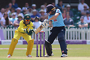 Heather Knight of England (5) drives off the back foot for four runs during the Royal London Women's One Day International match between England Women Cricket and Australia at the Fischer County Ground, Grace Road, Leicester, United Kingdom on 4 July 2019.