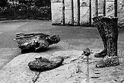 Pieces of the statue of Theobald Wolfe Tone on St Stephen's Green. The statue was blown up by a loyalist bomb. A report at the time noted that 'Huge slabs of the bronze sculpture were hurled 20 feet in the air'.<br />