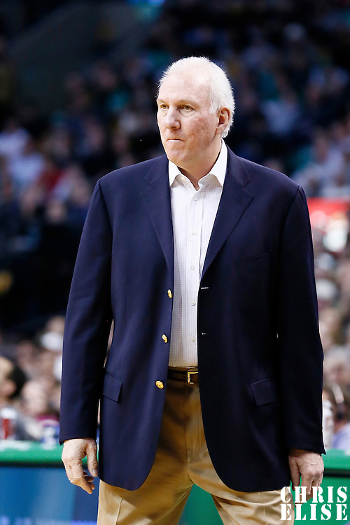 21 November 2012: San Antonio Spurs head coach Gregg Popovich is seen during the San Antonio Spurs 112-100 victory over the Boston Celtics at the TD Garden, Boston, Massachusetts, USA.