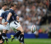 Twickenham, GREAT BRITAIN, Scotland's scrum half Rory LAWSON. Kicking clear during the 2011 Six Nations Rugby match, England vs Scotland. Played at the RFU Stadium Twickenham, Surrey on Sunday  13/03/2011.  [Mandatory Credit, Peter Spurrier/Intersport-images]