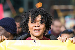 © Licensed to London News Pictures . 28/02/2015 . Newcastle , UK . Labour MP for Newcastle upon Tyne Central , CHI ONWURAH , at a counter  demonstration , opposing Pegida . About 1000 people at a march and demonstration under the name of Newcastle United, opposed to Pegida . Hundreds attend the first Pegida demonstration in the UK , at the Bigg Market in Newcastle . Photo credit : Joel Goodman/LNP