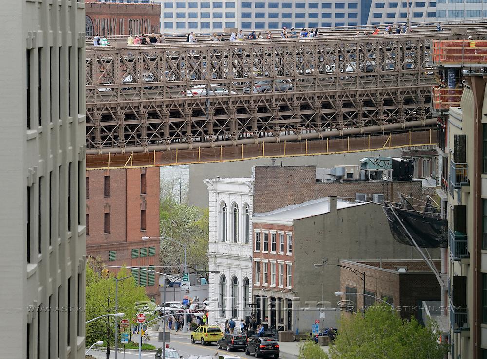 Structure of Brooklyn Bridge - New York City.