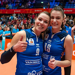 Pascalle Cnossen and Lisanne Baak #9 of Sliedrecht Sport celebrate in the cup final between Sliedrecht Sport and Laudame Financials VCN on February 16, 2020 in De Maaspoort in Den Bosch.