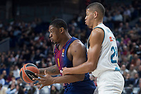 Real Madrid Walter Tavares and FC Barcelona Lassa Kevin Seraphin during Turkish Airlines Euroleague match between Real Madrid and FC Barcelona Lassa at Wizink Center in Madrid, Spain. December 14, 2017. (ALTERPHOTOS/Borja B.Hojas)