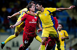 Ivica Krizanac of Split, Slobodan Vuk and Mario Lucas Horvat of Domzale. UEFA Europa League, Second Qualifying Round, 1st Leg, NK Domzale vs RNK Split, on July 14, 2011, in Sports park Domzale, Slovenia. Split defeated Domzale 2-1. (Photo by Vid Ponikvar / Sportida)