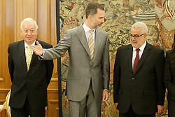 05.06.2015, Palacio de la Zarzuela, Madrid, ESP, Felipe VI von Spanien trifft Abdelilah Benkiran, der Chef der Regierung des Königreichs Marokko zu Besuch in Spanien, im Bild Felipe VI of Spain attends in audience the Head of the Government of the Kingdom of Morocco, Mr. Abdelilah Benkiran (r) and Minister of Foreign Affairs and Cooperation of Spain, José Manuel García-Margallo (l) // during their attendance at the high Level Meeting at the Palacio de la Zarzuela in Madrid, Spain on 2015/06/05. EXPA Pictures © 2015, PhotoCredit: EXPA/ Alterphotos/ Acero<br /> <br /> *****ATTENTION - OUT of ESP, SUI*****