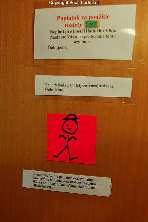 A water closet door sign in Dolny Kubin, Slovakia on Wednesday July 6th 2011.  (Photo by Brian Garfinkel)