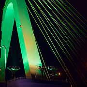 "One of the ""A"" pillars of the Aomori Bay Bridge - an ascetically pleasing cable-stayed bridge, with the emphasis on the design element of ""A"" for the prefecture and the city."