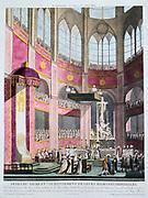 Cornation of Napoleon I and Empress Josephine, 2 December 1804.  Hand-coloured engraving